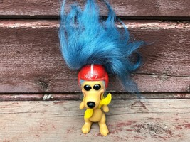 Vintage 1960s Royal Designs Troll Doll Dog w Football Helmet Blue Hair  - $59.35