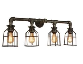 Farmhouse Style Vanity 4-Light, 4-Edison Bulbs E-26 Industrial Bathroom Lighting - $195.00