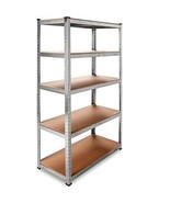 5 Shelves Racking Unit Garage Storage Organise Steel Frame Heavy Duty 5T... - $65.72