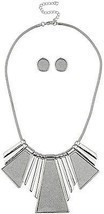 Lux Accessories Silver Tone Sticker Glitter Statement Necklace - $12.13