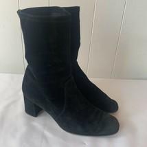 Stuart Weitzman Yuliana 60 Stretch Suede Ankle Sock Boot Black Size 7 B - $197.97