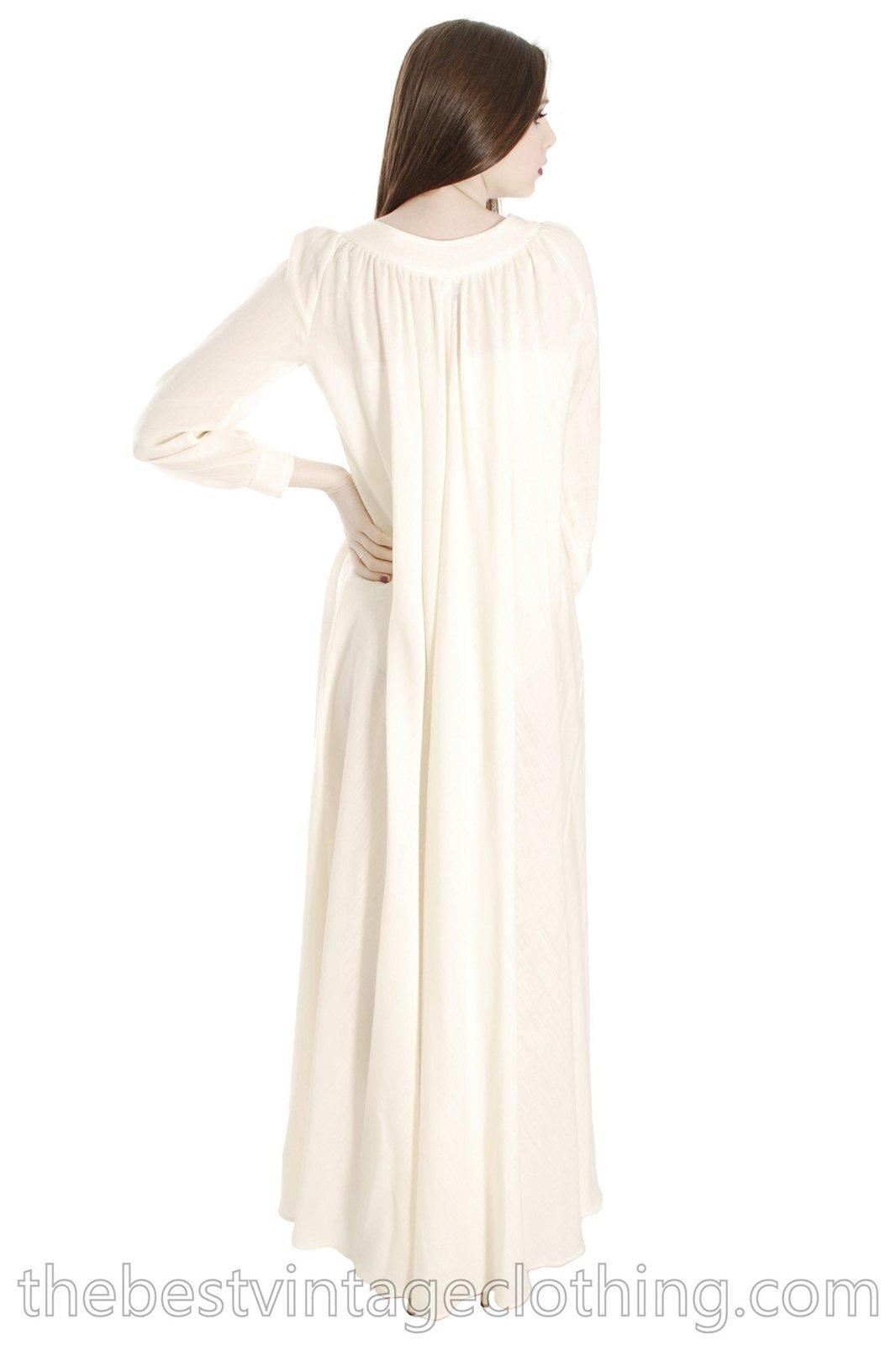 Vintage Vuokko Designer Dress 1970s  Ivory Wool Voile Maxi TENT Gown Wedding 197