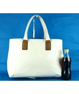 Authentic Bottega Veneta White PVC & Brown Leather Tote Shoppers Handbag... - $197.01