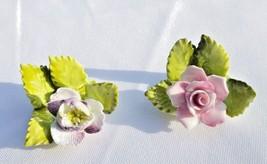 Vintage ROYAL ADDERLEY FLORAL BOUQUET Place Card Holder Flowers BONE CHI... - $24.95