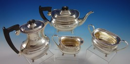 Edward Viners English Sterling Silver Tea Set 4pc with Carved Ebony (#2722) - $2,950.00