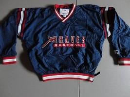 Vintage Blue Starter SEWN Atlanta Braves Pullover v-neck Lined Jacket ML... - $31.67