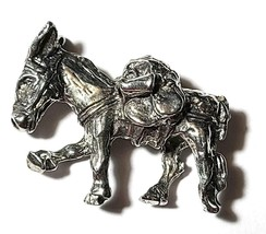 Donkey Mining Mule Gold Rush Fine Pewter Figurine -Approx. 3/4 inch tall  (T244) image 2