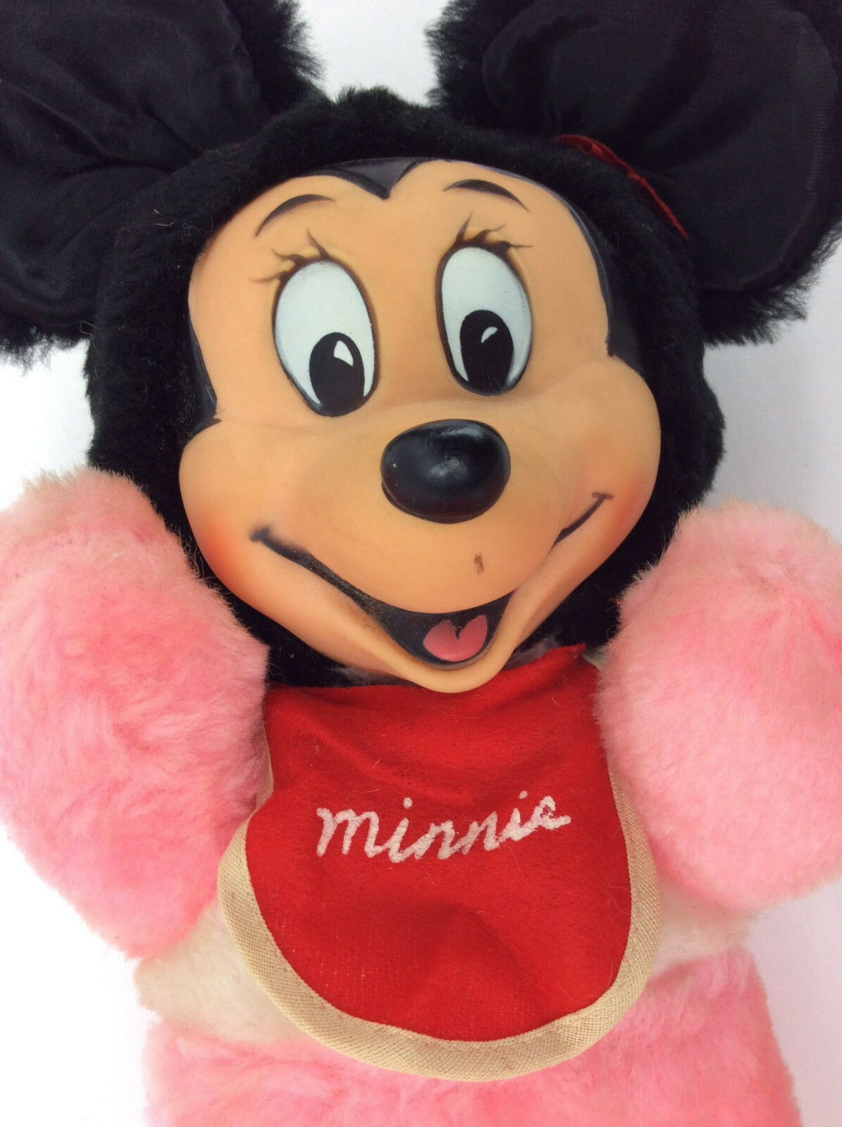 Minnie Mouse Pink Baby Bib Rubber Face Japan VTG Plush Stuffed Animal 13""