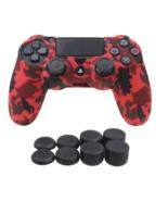 Silicone Grip Red Camo + (8) Multi Thumb Caps Non Slip For PS4 Controller  - $8.90