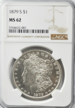 1879 S $1 Morgan Silver One Dollar NGC MS62 San Francisco BU - $64.34