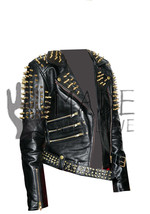 Womens Gold Spiked Studded Cowhide Handmade Leather jacket For Ladies Fashion - $349.99+