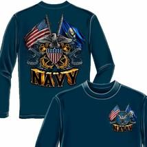 Navy Double Flag Long Sleeve Shirt - $32.95
