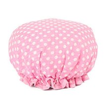 Stylish Design Waterproof Double Layer Shower Cap Spa Bathing Caps, Pink Dot