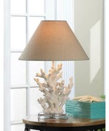 2White Ivory Coral sculpture Nautical Table Lamp neutral-color shade bea... - $118.80