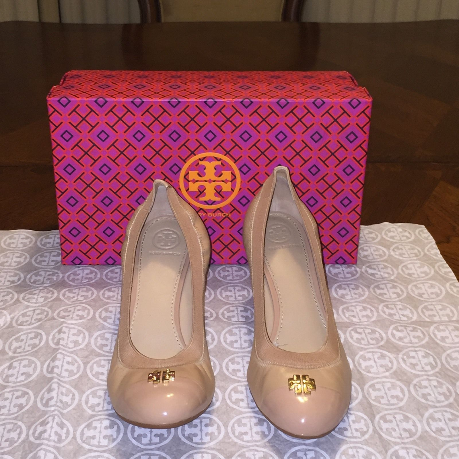 2bde81401 NIB Tory Burch Jolie Wedge in Tory Beige and 50 similar items