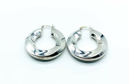 Vintage Modernist Sterling Silver Puffy Twist Hoop Earrings - $62.99