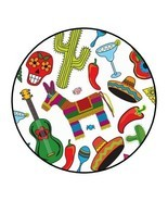 30 Fiesta party stickers favors cinco de mayo round birthday lollipop la... - $4.99