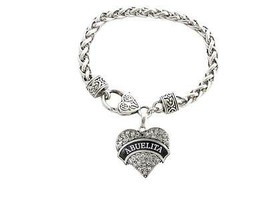 Abuelita Crystal Heart Silver Lobster Claw Bracelet Jewelry Abuela Grand... - $15.83