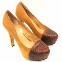 Jessica Simpson Women Platform Pump Heels Elisey Size US 6.5B Brown Suede - $17.50