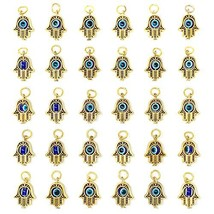 30PCS Antique Golden Hamsa Hand Evil Eye Bead of Fatima Symbol Charms - ... - $21.79