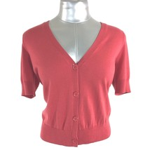Talbots M Cardigan Sweater Coral Salmon Short Sl V Neck Cute Topper Work Casual - $9.95