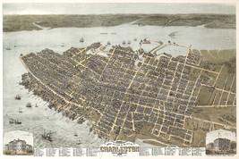 "1872 Historic 16""x24"" Map Charleston South Carolina Birds Eye View Art Poster - $16.34"