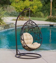Hanging Egg Chair with Stand & Cushion Outdoor Patio Porch Wicker Swing ... - $334.51