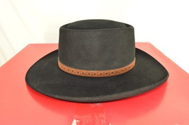 Stetson hat western Fedora black 6 5/8 brown leather band includes box USA - $49.49