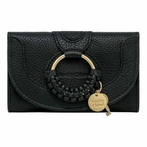 NWT SEE BY CHLOE Hana Compact Wallet Stitched Layer Card Case Black CHS1... - $193.05