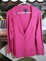 LANE BRYANT Ladies Pink Spring Knit Sweater Long Sleeve Button Front Cot... - $15.97