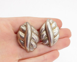 MEXICO 925 Sterling Silver - Vintage Fluted Non Pierce Clip On Earrings ... - $62.46