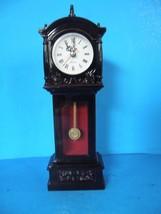 Quartz Pendulum Clock Black Plastic Desk Shelf Mantel - $12.86