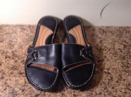 Born Black Leather Slides Sandals Sz 7 m 38 Womens VGC CUTE - $15.57