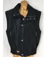 Spyder Vest Full Zip Snap Front Sleeveless Biker Ski Spell Out Black Men... - $38.00