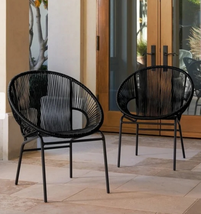 Patio Wicker Chairs 2 Round Chair Set Woven Seats Outdoor Dining Sets Fu... - $291.59