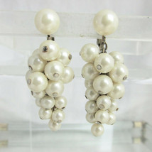 Vintage Marvella Ivory Colored Faux Pearl Grape Cluster Dangling Earring... - $14.39