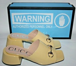 NIB Gucci Lexi Horsebit Patent Leather Slides Mid-Heel Shoes Sandals 38 ... - $395.01
