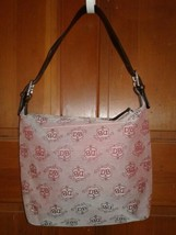 Dooney & Bourke - beautiful L / XL fabric & leather signature vintage hobo - $38.61