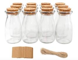 Small Glass Favor Jars Milk Glass Bottles Cork Lids Party Favors Wedding... - $23.49