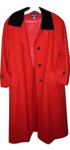 Oh SO JACKIE O Sag Harbor Red Ladies Wool Coat, Black Velvet Collar & Bu... - $46.96