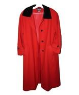 Oh SO JACKIE O Sag Harbor Red Ladies Wool Coat, Black Velvet Collar & Bu... - $46.96