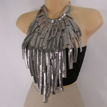 Neu Damen Breiter Extra Lang Mode Bib Halskette Ohrringe Set Multi Silber Ketten - $48.57