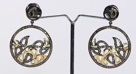 Victorian  2-tone Gold Plated Round Dangling Oxidized Earrings with Pave... - $270.00