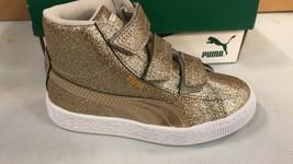 Puma Basket Mid Strap Glitz PS Gold Little Kids Girls Sneakers US Size 11 C - $39.59