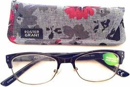 +1.50 Foster Grant Navy Antonella Biodegradable Reading Glasses &case Turquoise - $11.75