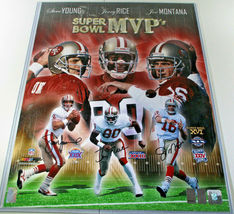 MONTANA, RICE & YOUNG / AUTOGRAPHED 16 X 20 SUPERBOWL MVP PHOTO / PLAYER HOLOS image 1