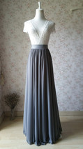 GRAY Chiffon Maxi Skirt Gray Bridesmaid Chiffon Skirt Wedding Party Plus Size image 2