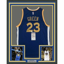 FRAMED Autographed/Signed DRAYMOND GREEN 33x42 Warriors Blue Jersey JSA COA - €581,75 EUR