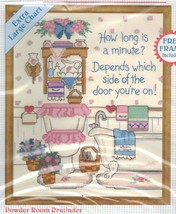 "No Count Cross Stitch Bathroom Powder Room Reminder Stitchables KIT 8"" x... - $16.99"