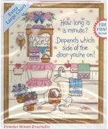 "No Count Cross Stitch Bathroom Powder Room Reminder Stitchables KIT 8"" x... - $16.99"